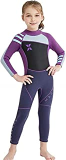 Little Kids Girls UV Protection Swimsuits 2.5mm Neoprene Keep Warm Wetsuit Long Sleeves Diving Suits