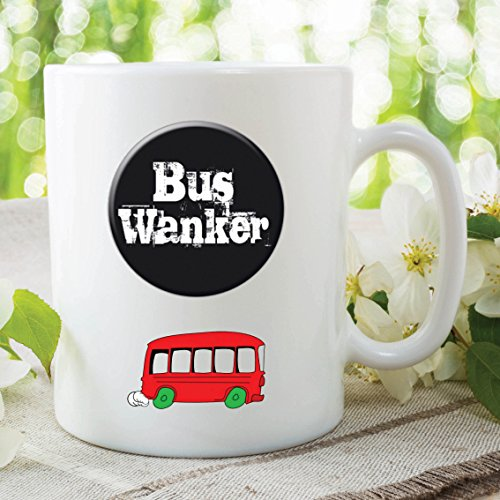 Bus Wanker Mug Gift with red bus image
