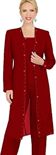 Designer 3 Piece Chiffon Pant Suits Mother of The Bride Pant Suits Long Jacket Evening Party
