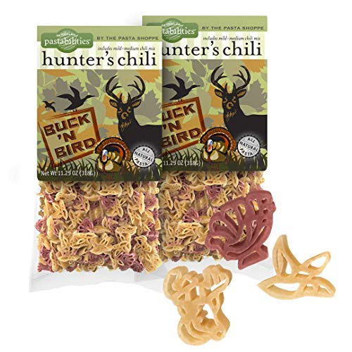Pastabilities Hunter's Chili, Fun Shaped Deer Bird and Turkey Noodles with Seasoning Mix, Natural Wheat Pasta, Serves 6 (11.25 oz, 2 Pack)