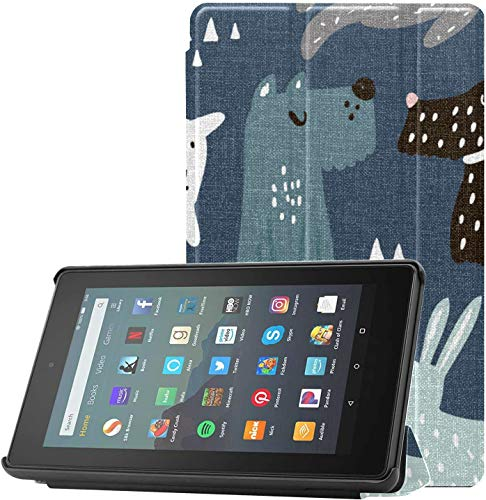 Cover Kindle7InchTabletCase Smart Dog Friend Puppy Animal Fire7ScreenProtectorandCase for Fire 7 Tablet (9th Generation, 2019 Release) Lightweight with Auto Sleep/Wake