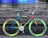 JKC Fixed Gear Bicycle 26 Inch Road Bike Single Speed Colorful Bicycle Vintage Frame Man and Woman Student (Color)