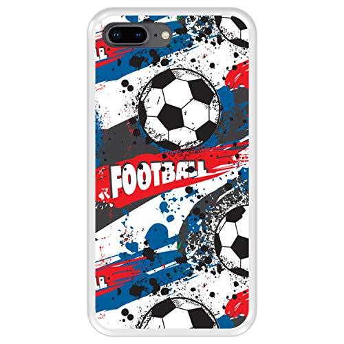 Hapdey Funda Transparente para [ iPhone 7 Plus - 8 Plus ] diseño [ Patrón Deportivo con Bolas de Futbol ] Carcasa Silicona Flexible TPU