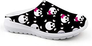 AXGM Men's Slippers Mesh Clogs Mules Beach Shoes Skull Love Skull Black Printed Lightweight Slippers Man Lazy Shoes Low Ba...