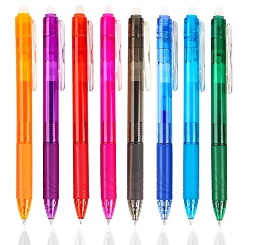 Boligrafos Borrables Frixion Clicker, Bolígrafos Retráctiles de Gel Punta 0.5 mm con Goma de Borrar para Escuela Oficina Hogar, 8 Colores