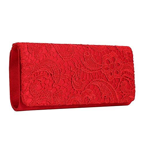 EULovelyPrice Bolso de boda nupcial elegante del monedero de la boda para mujeres (Rojo)
