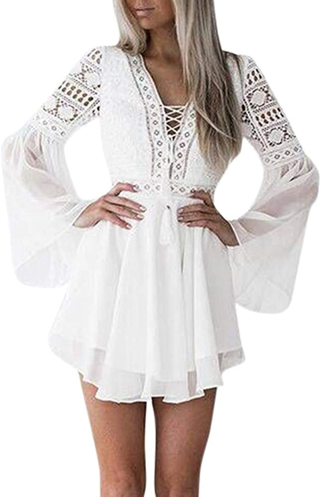 Ruffle Lace Long Sleeve Dresses for 2021 model Party Deep Max 63% OFF Skat V Women Neck