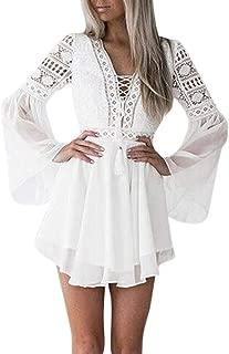 Women Lace Bell Long Sleeve V Neck Hollow Out Crisscross Ruffles Hem Cocktail Mini Dress