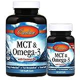 Carlson - MCT & Omega-3, Coconut Oil, Caprylic & Capric Acids, EPA & DHA, Energy Production, Fat Metabolism & Brain Health, 120+30 Softgels