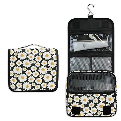 Mr.XZY Bolsa de maquillaje con estampado de margaritas para cosméticos de flores blancas y plantas lindas multifunción portátil con cremallera bolsa de aseo para mujeres y niñas 2011704