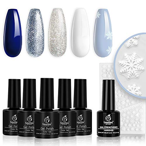 Beetles Christmas Gel Nail Polish Set- Glitter White Gel Polish Kit Soak Off LED Nail Lamp Blue Silver Gel Polish Gift with Strengthener Reinforcement Gel Nail Sticker Snowflakes Decoration Gift Box