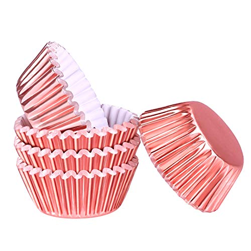 Aodaer 100 Pieces Mini Foil Metallic Cupcake Liners Baking Cups Muffin Cups Muffin Paper Cases for Baking, Rose Gold, 1.26 x 0.71 inch