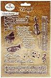 Rayher Hobby 58172000 Clear Stamps Vintage Musik, klar, transparent, durchsichtig, verschiedene Musikmotive, ca. 1 - 12,5 cm, Stempel