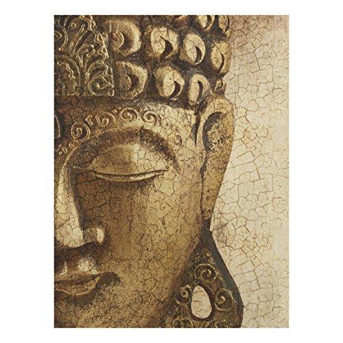Apalis Holzbild Buddha - Vintage Buddha - Wandbild Hoch 4:3, Größe HxB:80cm x 60cm