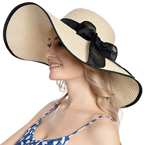 Muryobao Womens Sun Straw Hat Wide Brim UV UPF 50 Summer Hat Foldable Roll up Floppy Beach Cap for Women B-Beige