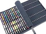 Funda de piel para pluma estilográfica, para varios tamaños, 46 ranuras