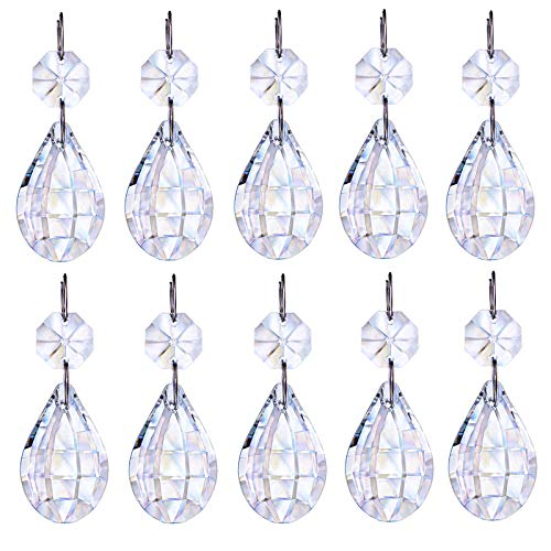 H&D HYALINE & DORA Hanging Glass Crystal Prism Parts with Silver circle Great for Christmas Tree Decorations, Chandeliers, Art Projects, Pack of 10 (water drop shape)