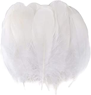 Coceca 150pcs 5-7 Inches Natural Large White Goose Feathers for Arts and Crafts or Clothing