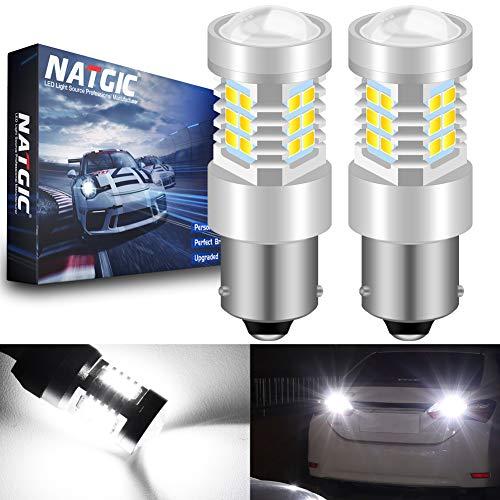 NATGIC BAU15S 1156 PY21W Ampoules LED Blanc xénon 21- EX 2835 SMD Jeu de puces avec lentille de Projection pour Feux de recul de Queue de Frein, 10-16V 10,5W (Paquet de 2)
