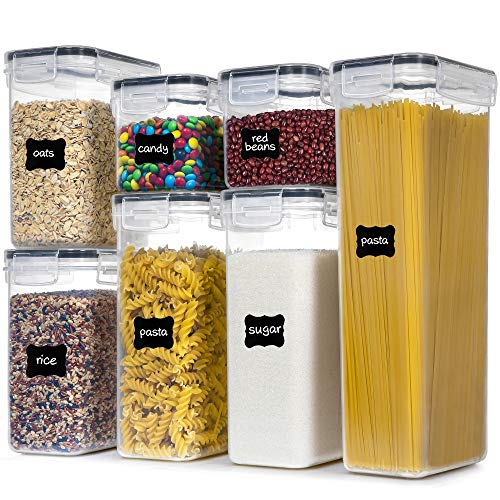 Airtight Food Storage Containers With Lids PantryStar 7 PCS BPA Free Kitchen Storage Containers for Spaghetti Pasta Dry FoodFlour and Sugar Plastic Canisters for Pantry Organization and Storage