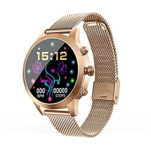 Reloj Inteligente con Pantalla a Color, Reloj de Monitor de Salud Deportivo con Pantalla táctil Simple y Simple para Mujer, Color Dorado