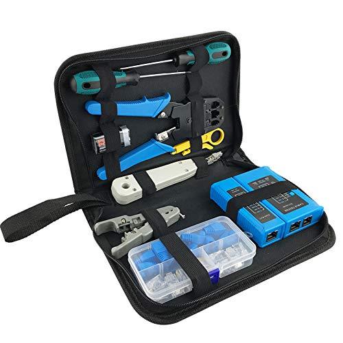 Jinyouqin Kit de Herramientas de reparación de Red de computadoras LAN Cable Tester Cutter Cutter Destornilladores Alicates Crimpaje Mantenimiento Herramienta Set Bolsa