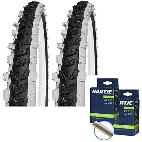 KENDA Set: 2 x Kinder Fahrrad BMX Reifen K829 schwarz-weiß 20x2.00 + 2 SCHLÄUCHE Autoventil