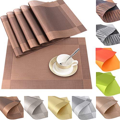 Time to Sparkle 6 Unidades Manteles Individuales de PVC Mantelitos Individuales Antideslizante Resistente al Calor Mesa de Comedor de Cocina (PVC-Marrón)