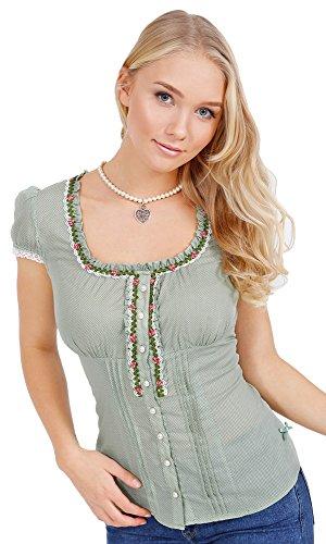 Krüger MADL dames klederdrachtblouse Rosalie - groen - romantische blouse voor leren broek