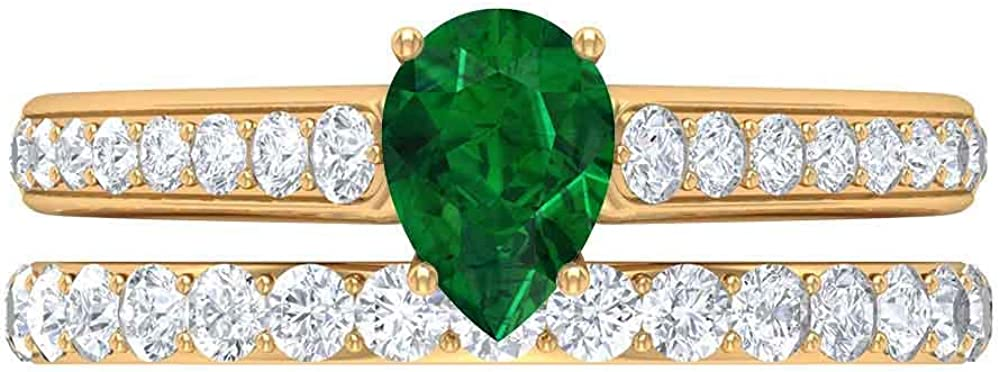 5X7 MM Pear Shaped Lab Created Ring unisex Solitaire Emerald D 1.58 CT Max 65% OFF