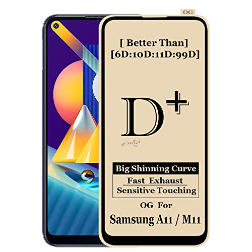 Xester ® [d-plus] screen protector compatible with Samsung m11, 9h hardness, 6x stronger, installation frame, bubble free anti-fingerprint tempered glass edge to edge full screen coverage