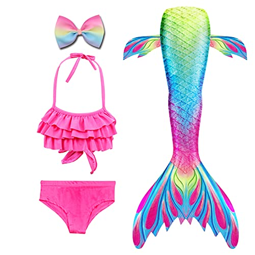 Danvren Girls Swimsuit Mermaid Tails for Swimming Party Supplies Costume Swimwear Bikini 3 Pcs for 3-12Y (Colored Pudding Design,3-4 T