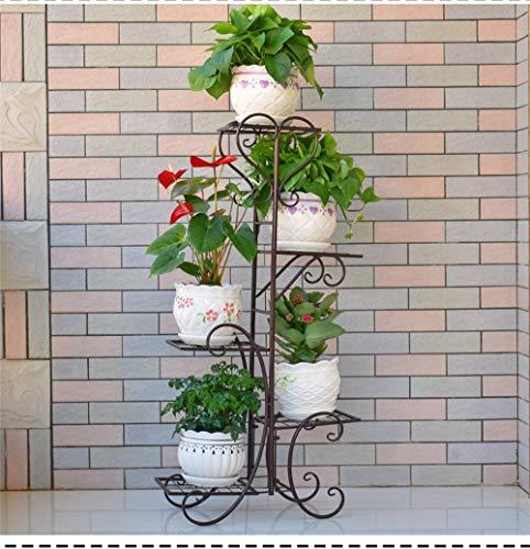 GYAO-étagères à fleurs Plateau de fleurs Plusieurs étages Intérieur Offre spéciale Plateau de balcon Fer forgé En bois massif Salon Espace Pot de fleurs Au sol Radis Vert (Color : Brass)