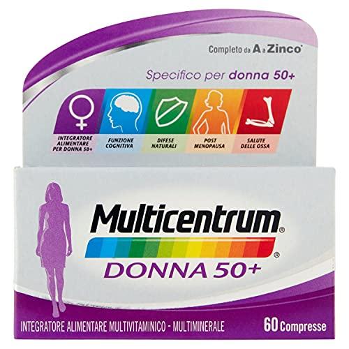 Multicentrum Donna 50+ Integratore Alimentare multivitaminico e multiminerale completo, Vitamine D, A-Z, Senza Glutine e Zuccheri, 60 compresse