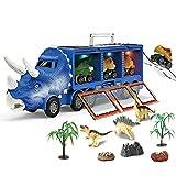 Tebinzi Dinosaurio del Juguete Camión De Transporte Transportador Coches, 3 Dinosaurio Animal Figuras Coche,Juguetes Niños 3-8 Años, Educativo Juguete con Musica Y Luces