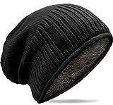 Grin&Bear weiches Unisex Slouch Beanie Mütze in Feinstrick mit warmem Fleece Innenfutter schwarz M31
