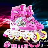 Patines Ajustable for niños Ruedas de Rodillos línea niños Solo Destello de PVC Set ( Color : Pink M (21.5 24CM) )