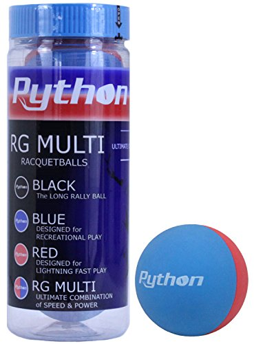 Python 3 Ball Can RG Multi Colored Racquetballs (Endorsed by Racquetball Legend Ruben Gonzalez!) (1-Can/Pack, 3-Balls)