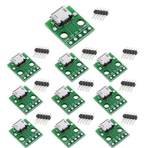 Sun3drucker 10 Stück Micro USB Breakout Modul, B Type Micro USB zu DIP Konverter Board Platine, 5 Pin 2.54mm, 5V für Arduino DIY USB Netzteil Steckbrett
