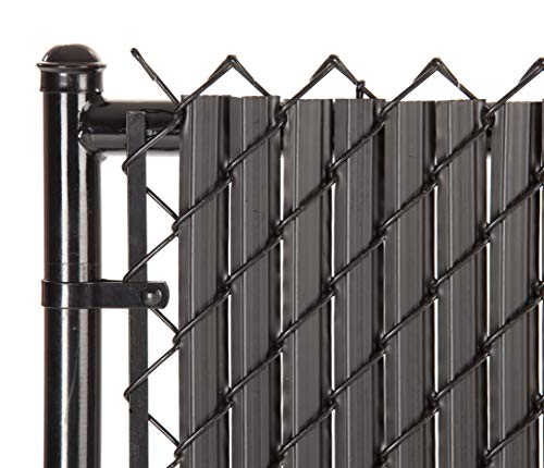 SoliTube Slat Privacy Inserts for Chain-Link Fence, Double-Wall Vertical Bottom-Locking Slats with Wings for 6' Fence Height (Black)