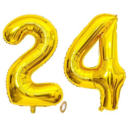 Jrzyhi Globos con números para 24 cumpleaños, globos dorados gigantes, número 24...