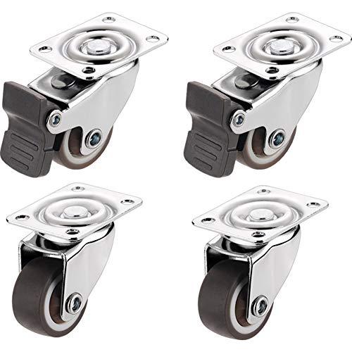 LXY® 4 Small Castor Wheels 25mm mit Schrauben Heavy Duty Castors Lenkradgummirollen für Möbeltischwagen
