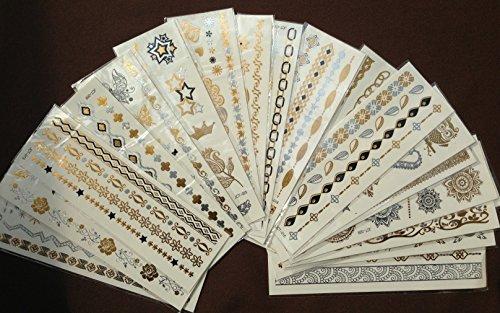 METALLIC TATTOO 10fogli Set FAKE TATTOO Flash Tattoo gioielli Tattoo adesivi per corpo