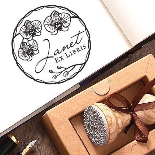 Sello Libros Corona Flores Orquídeas Personalizado Ex libris, Sello de Goma Personalizable Madera, Sellos Personalizados, Caja de Regalo