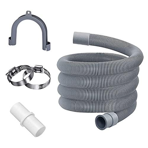 RoxNvm Tubo di prolunga per lavatrice, Tubo universale per lavatrice, Kit di prolunga del tubo di scarico di ricambio con connettore e fissaggi per lavastoviglie e altre applicazioni (2 m)