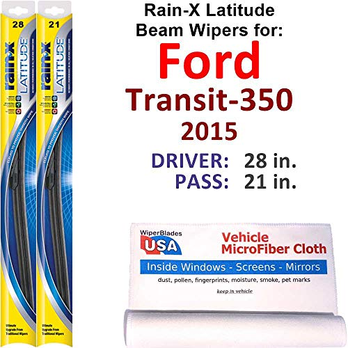 Rain-X Latitude Beam Wiper Blades for 2015 Ford Transit-350 Set Rain-X Latitude Beam Blades Wipers Set Bundled with MicroFiber Interior Car Cloth