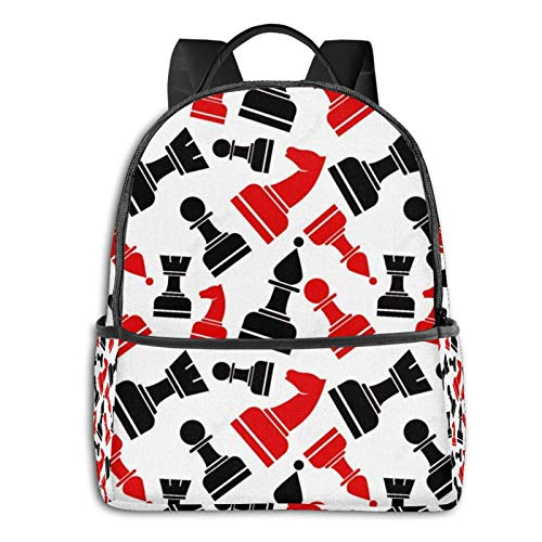 IUBBKI Mochila lateral negra Mochilas informales Students Backpack Multipurpose Bookbag Stylish Chess Pattern Backpacks Durable Rucksack with Adjustable Shoulder Straps