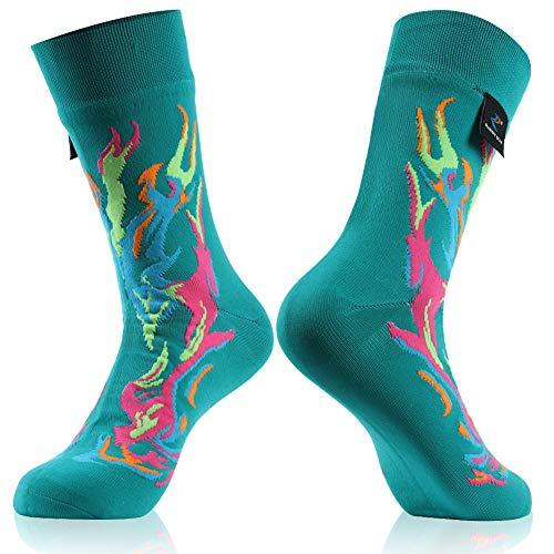 RANDY SUN Unisex Wasserdicht & Atmungsaktiv Wandern Trekking Ski Socken 1 Paar, Damen, 1 Paar bunte Socken mit 2 mittleren Waden, Small