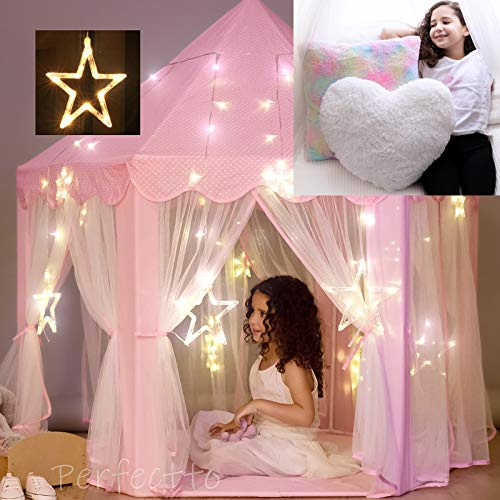 Princess Castle Play Tent with Large Star Lights and a Set of 2 Decorative Pillows for Girls. Little Girls Princess Tent Toy with Rainbow Throw Pillow and Fluffy Heart. Girls Gift Age 3 4 5 6 7