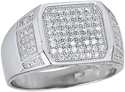 Sterling Silver Rhodium Men's Emerald Cut New life Cash special price Ring Pave Detail